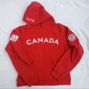 Roots Canada Bright Red & White Pullover Hoodie